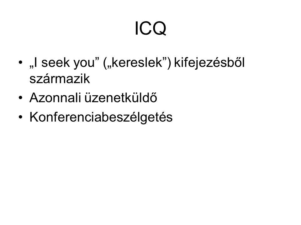 """ICQ """"I seek you (""""kereslek ) kifejezésből származik Azonnali üzenetküldő Konferenciabeszélgetés"""