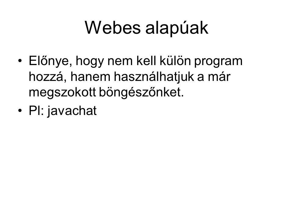 Webes alapúak Előnye, hogy nem kell külön program hozzá, hanem használhatjuk a már megszokott böngészőnket.