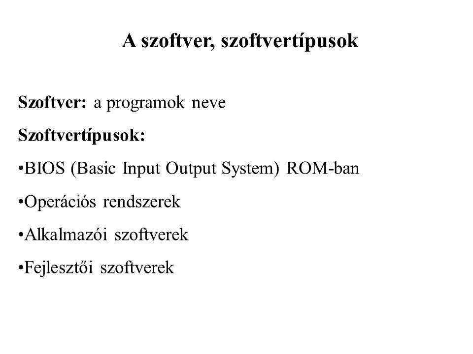A szoftver, szoftvertípusok Szoftver: a programok neve Szoftvertípusok: BIOS (Basic Input Output System) ROM-ban Operációs rendszerek Alkalmazói szoftverek Fejlesztői szoftverek