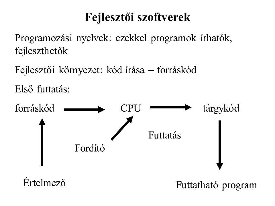 Fejlesztői szoftverek Programozási nyelvek: ezekkel programok írhatók, fejleszthetők Fejlesztői környezet: kód írása = forráskód Első futtatás: forráskód CPU tárgykód Értelmező Fordító Futtatás Futtatható program