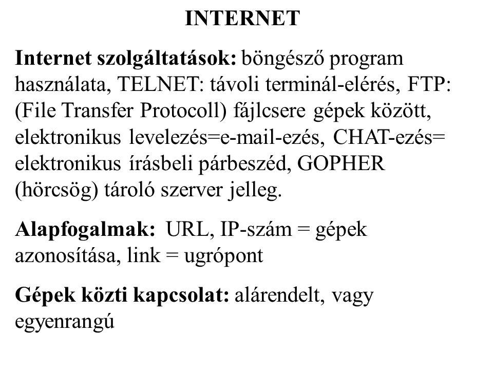 A hétrétegű hálózati modell Rétegek: szabványok Témakörei: alkalmazás, megjelenítés, viszony, szállítás, hálózat, adatkapcsolat, fizikai megjelenés Protokoll: a hálózatok szabványosítási szabályai Kívánalom: az átviteli közeg adatvesztés és zavarmentes legyen Adási jog továbbítás (Token Passing) Állomások: bonyolult logikai háló, minden állomás rendelkezik címmel, az állomások között vezérlő jel jár körbe.