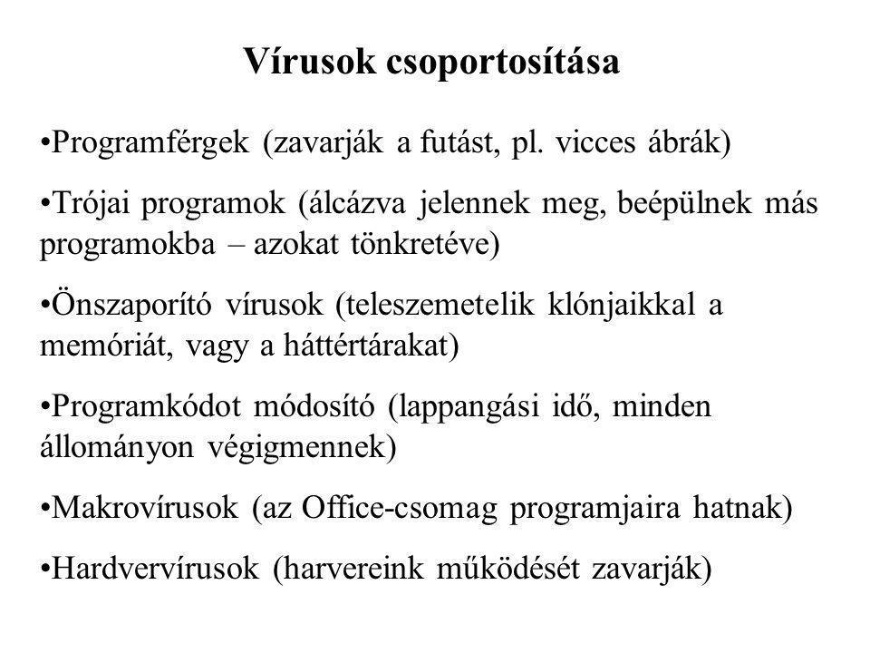 Vírusok csoportosítása Programférgek (zavarják a futást, pl.