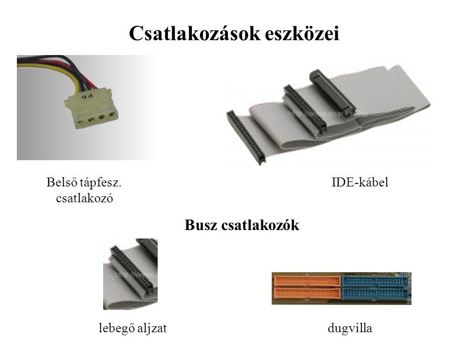 Csatlakozások eszközei Belső tápfesz. csatlakozó IDE-kábel Busz csatlakozók lebegő aljzatdugvilla