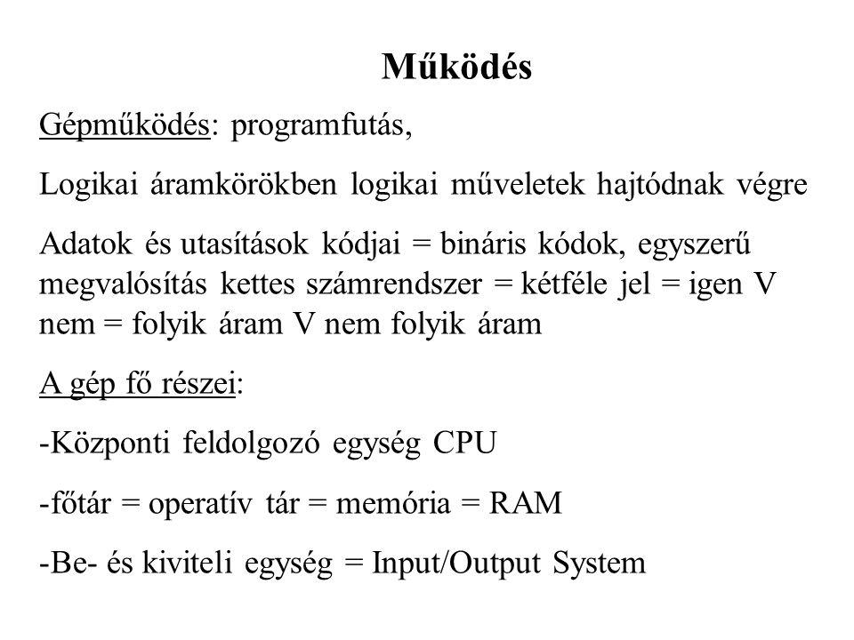 Működés Gépműködés: programfutás, Logikai áramkörökben logikai műveletek hajtódnak végre Adatok és utasítások kódjai = bináris kódok, egyszerű megvaló