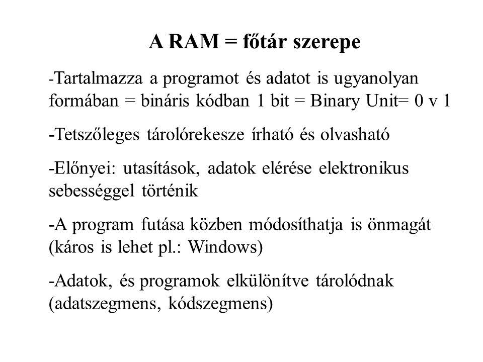 A RAM = főtár szerepe - Tartalmazza a programot és adatot is ugyanolyan formában = bináris kódban 1 bit = Binary Unit= 0 v 1 -Tetszőleges tárolórekesz