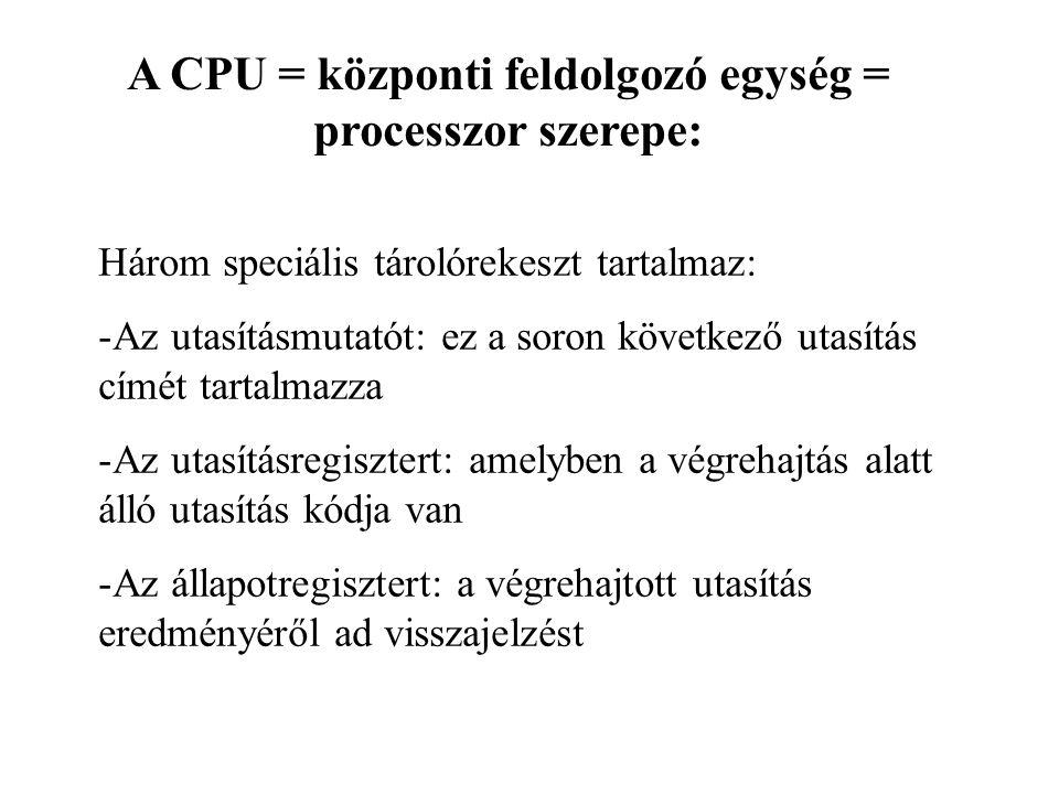 A CPU = központi feldolgozó egység = processzor szerepe: Három speciális tárolórekeszt tartalmaz: -Az utasításmutatót: ez a soron következő utasítás c