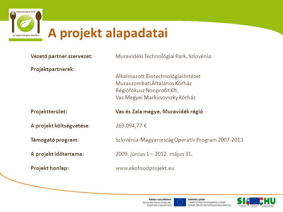 A projekt alapadatai Vezető partner szervezet: Muravidéki Technológiai Park, Szlovénia Projektpartnerek: Alkalmazott Biotechnológiai Intézet Muraszombati Általános Kórház Régiófókusz Nonprofit Kft.