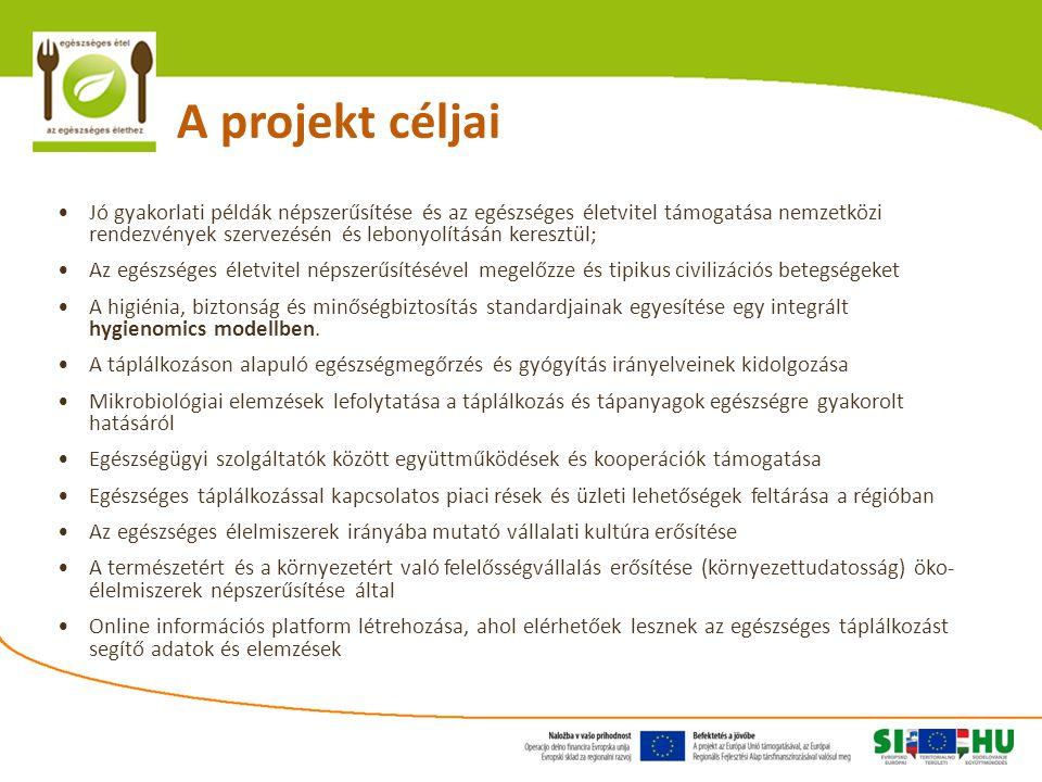 A projekt céljai Jó gyakorlati példák népszerűsítése és az egészséges életvitel támogatása nemzetközi rendezvények szervezésén és lebonyolításán keresztül; Az egészséges életvitel népszerűsítésével megelőzze és tipikus civilizációs betegségeket A higiénia, biztonság és minőségbiztosítás standardjainak egyesítése egy integrált hygienomics modellben.
