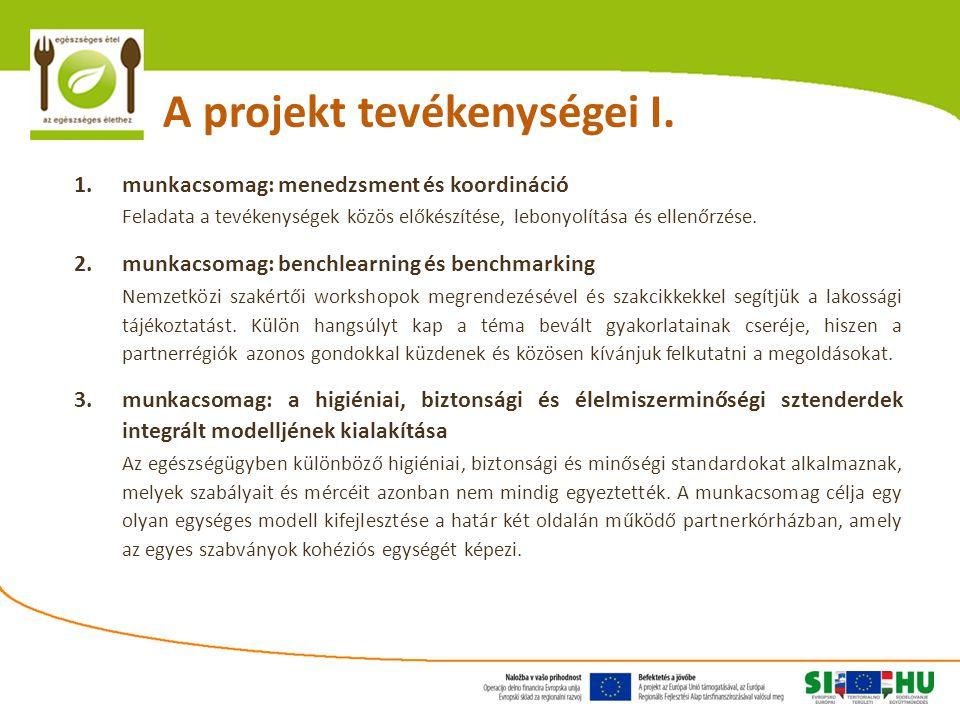 A projekt tevékenységei I. 1. munkacsomag: menedzsment és koordináció Feladata a tevékenységek közös előkészítése, lebonyolítása és ellenőrzése. 2. mu