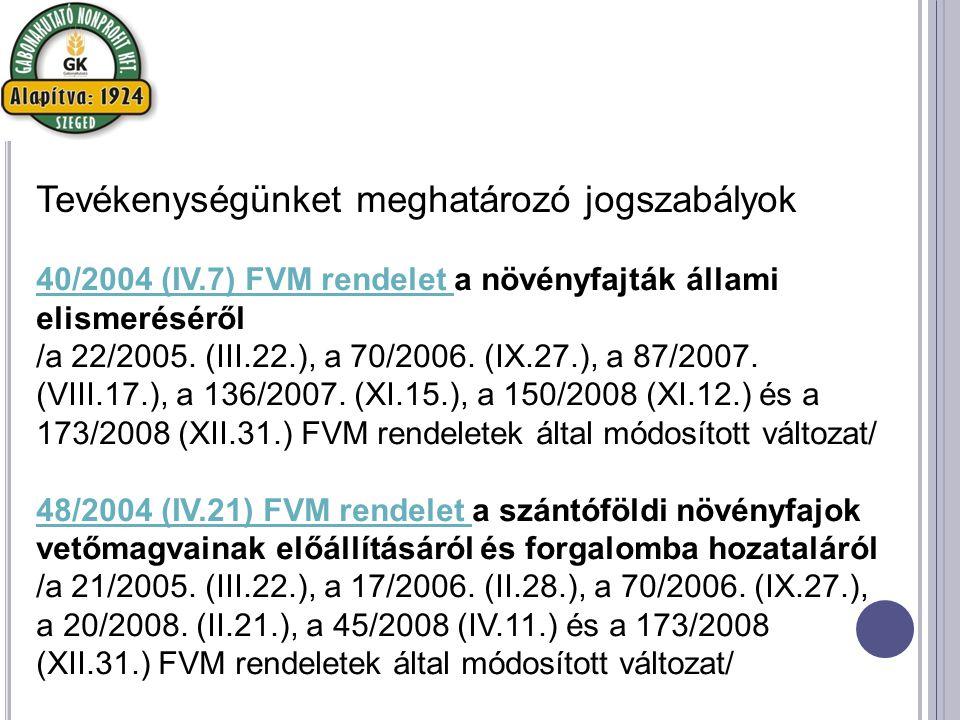 40/2004 (IV.7) FVM rendelet 40/2004 (IV.7) FVM rendelet a növényfajták állami elismeréséről /a 22/2005.
