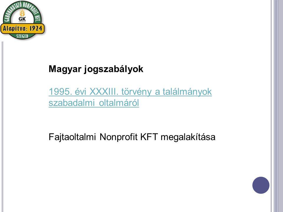 Magyar jogszabályok 1995. évi XXXIII.