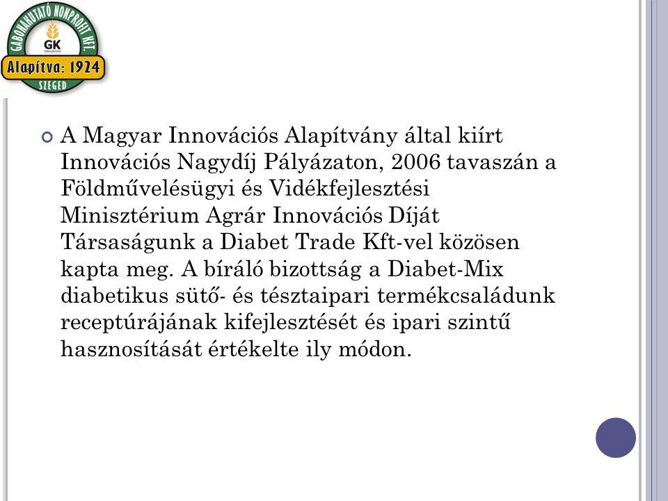 A Magyar Innovációs Alapítvány által kiírt Innovációs Nagydíj Pályázaton, 2006 tavaszán a Földművelésügyi és Vidékfejlesztési Minisztérium Agrár Innovációs Díját Társaságunk a Diabet Trade Kft-vel közösen kapta meg.