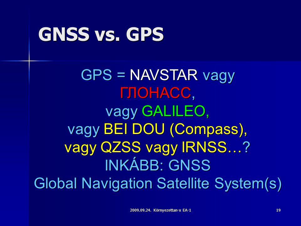 2009.09.24. Környezettan-x EA-119 GNSS vs. GPS GPS = NAVSTAR vagy ГЛОНАСС, vagy GALILEO, vagy BEI DOU (Compass), vagy QZSS vagy IRNSS…? INKÁBB: GNSS G