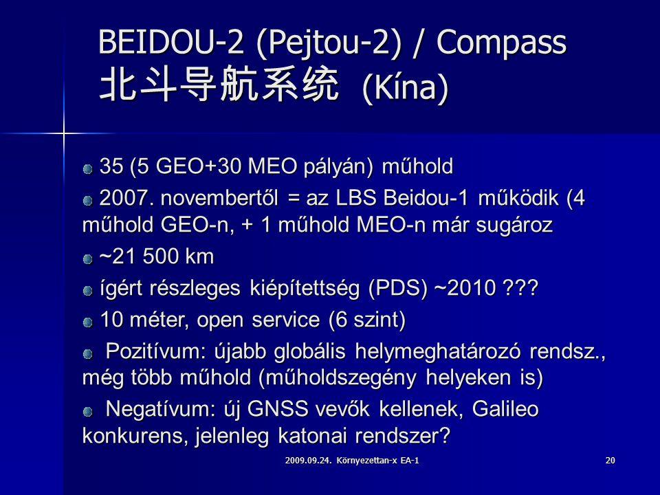 2009.09.24. Környezettan-x EA-120 BEIDOU-2 (Pejtou-2) / Compass 北斗导航系统 (Kína) 35 (5 GEO+30 MEO pályán) műhold 35 (5 GEO+30 MEO pályán) műhold 2007. no