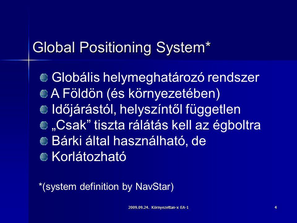 2009.09.24. Környezettan-x EA-14 Global Positioning System* Globális helymeghatározó rendszer A Földön (és környezetében) Időjárástól, helyszíntől füg