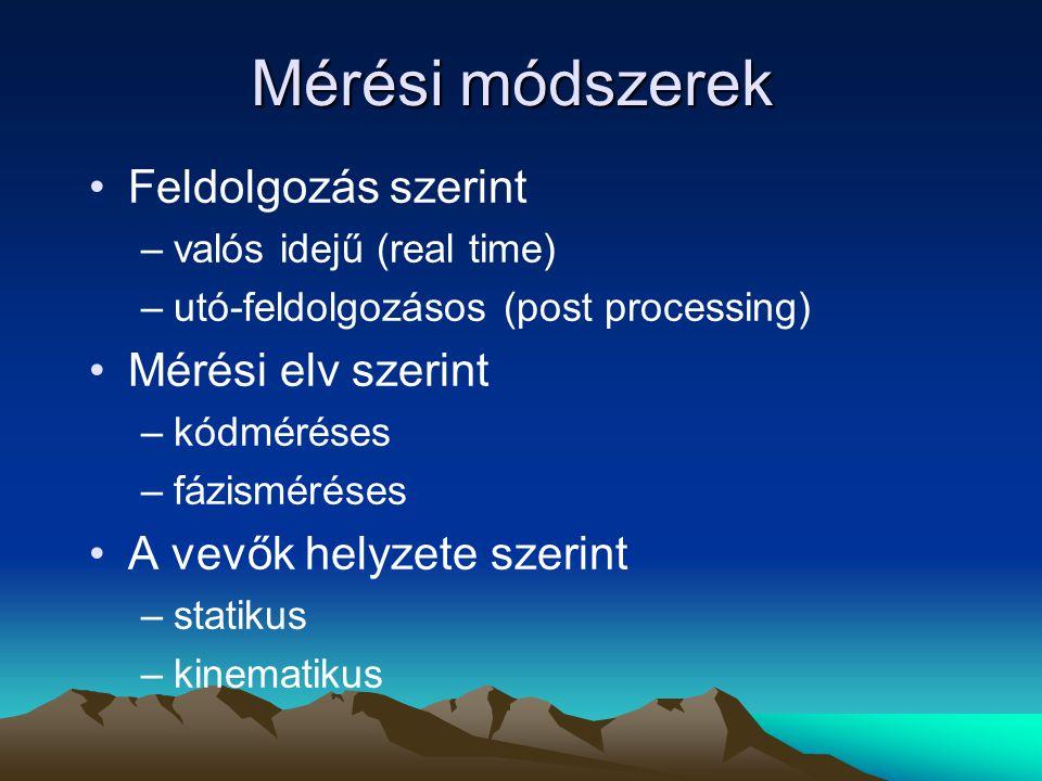 Mérési módszerek Feldolgozás szerint –valós idejű (real time) –utó-feldolgozásos (post processing) Mérési elv szerint –kódméréses –fázisméréses A vevő