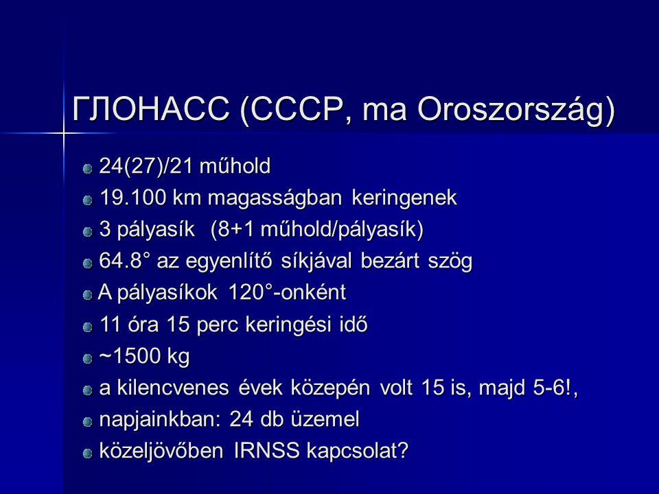 ГЛОНАСС (CCCP, ma Oroszország) 24(27)/21 műhold 24(27)/21 műhold 19.100 km magasságban keringenek 19.100 km magasságban keringenek 3 pályasík (8+1 műh