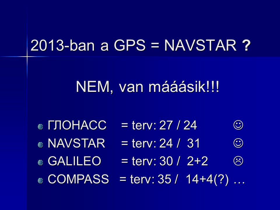2013-ban a GPS = NAVSTAR ? NEM, van mááásik!!! ГЛОНАСС = terv: 27 / 24 ГЛОНАСС = terv: 27 / 24 NAVSTAR= terv: 24 / 31 NAVSTAR= terv: 24 / 31 GALILEO=