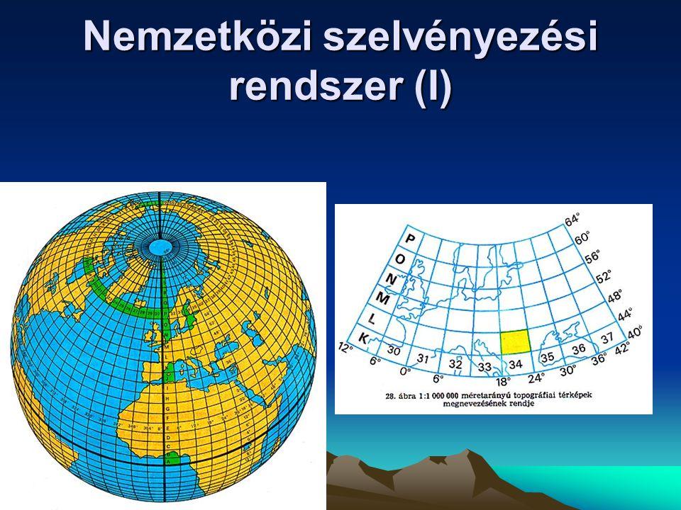 Egyenlítő Gellérthegyi meridián Gömbi főkör Gellérthegy Magyar topográfiai térképek vetületei EOV  = 47  06'