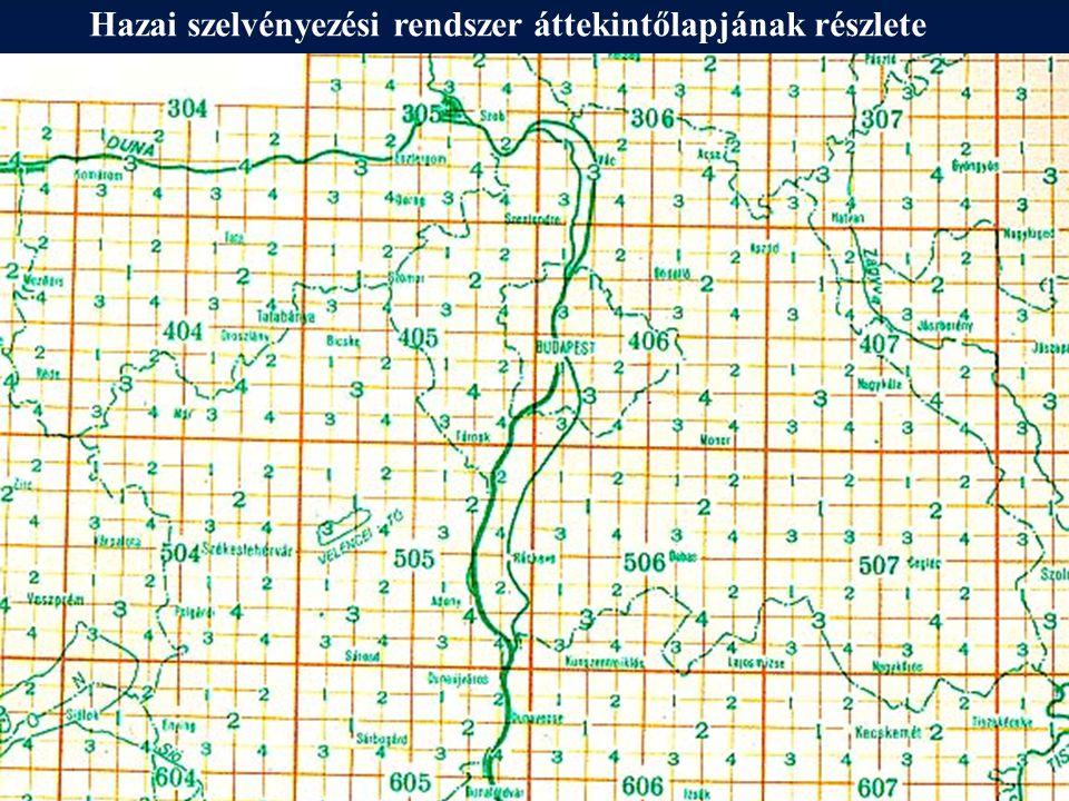 EOTR szelvényezési rendszer áttekintőlapjának részlete