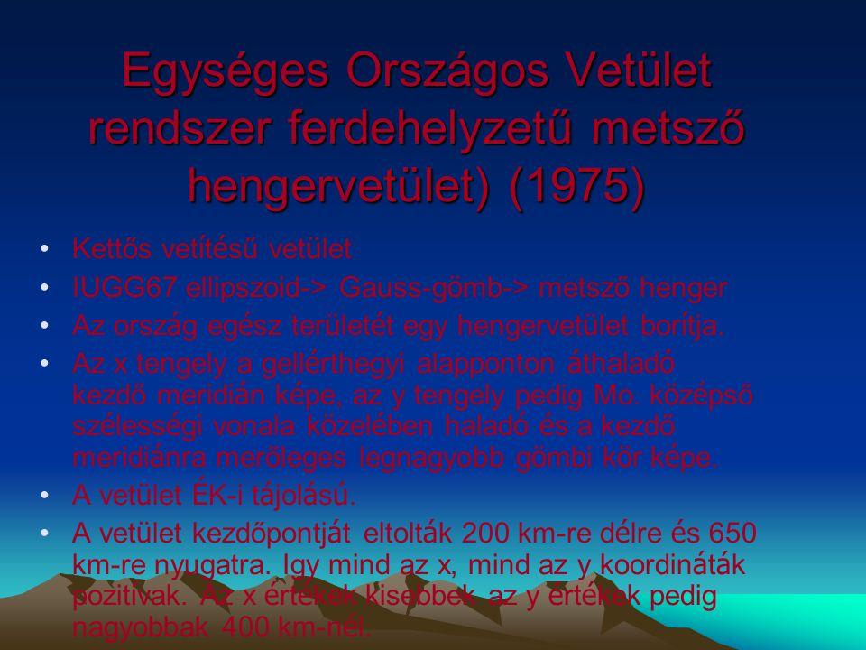Magyarorsz á gon alkalmazott vet ü leti é s t é rk é prendszerek 1.Sztereografikus vetület (konform azimutális síkvetület) 2.Ferdetengelyű szögtartó h