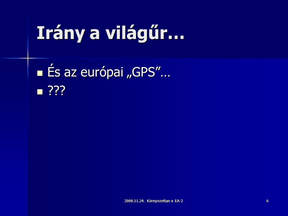 """2008.11.24. Környezettan-x EA-26 Irány a világűr… És az európai """"GPS … És az európai """"GPS …"""