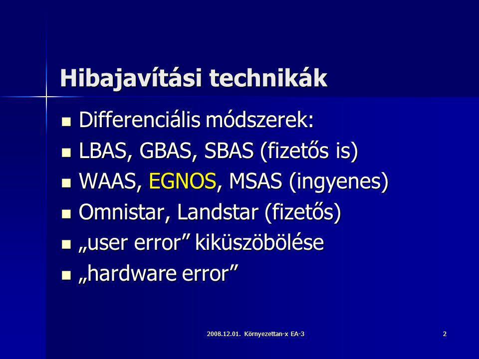 2008.12.01. Környezettan-x EA-32 Hibajavítási technikák Differenciális módszerek: Differenciális módszerek: LBAS, GBAS, SBAS (fizetős is) LBAS, GBAS,