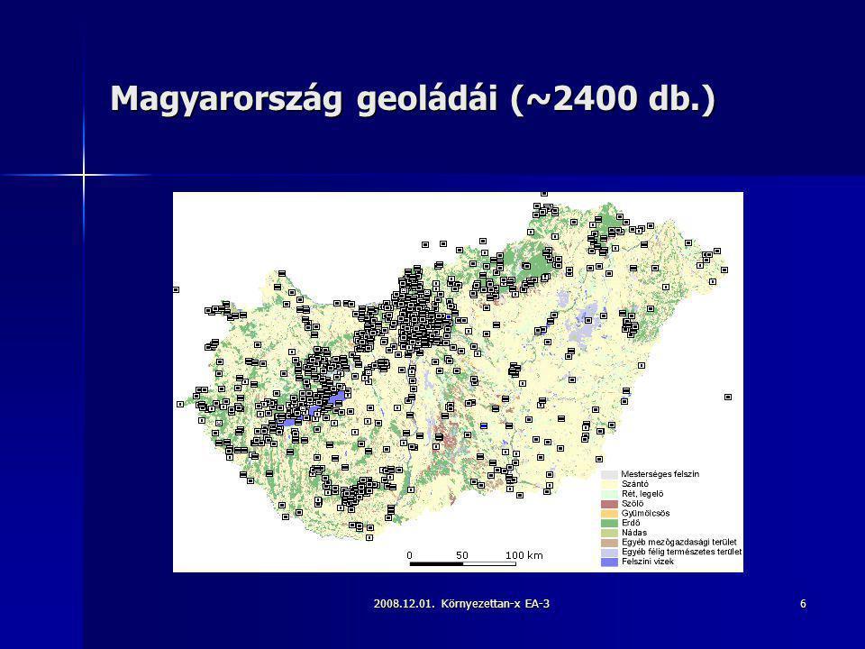 2008.12.01. Környezettan-x EA-36 Magyarország geoládái (~2400 db.)