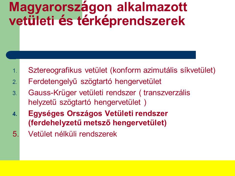 Magyarorsz á gon alkalmazott vet ü leti é s t é rk é prendszerek 1.