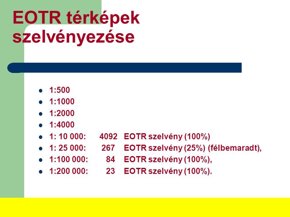 EOTR térképek szelvényezése 1:500 1:1000 1:2000 1:4000 1: 10 000: 4092 EOTR szelvény (100%) 1: 25 000: 267 EOTR szelvény (25%) (félbemaradt), 1:100 000: 84 EOTR szelvény (100%), 1:200 000: 23 EOTR szelvény (100%).