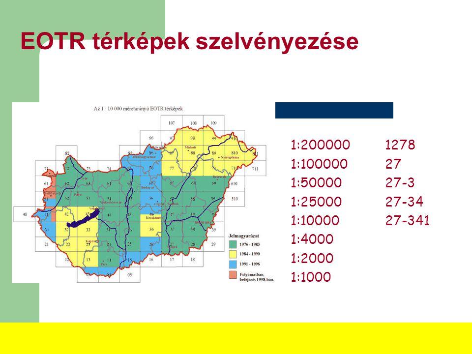 EOTR térképek szelvényezése 1:500 1:1000 1:2000 1:4000 1: 10 000: 4092 EOTR szelvény (100%) 1: 25 000: 267 EOTR szelvény (25%) (félbemaradt), 1:100 00