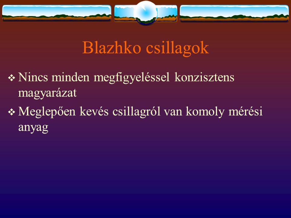 Blazhko csillagok  Nincs minden megfigyeléssel konzisztens magyarázat  Meglepően kevés csillagról van komoly mérési anyag