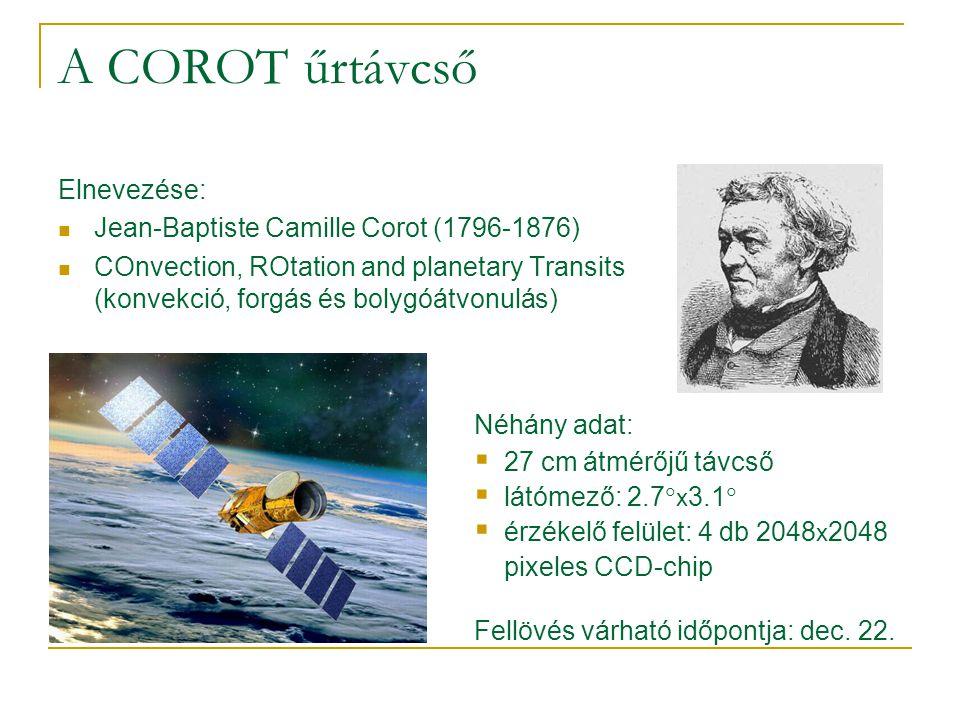 A COROT űrtávcső Elnevezése: Jean-Baptiste Camille Corot (1796-1876) COnvection, ROtation and planetary Transits (konvekció, forgás és bolygóátvonulás) Néhány adat:  27 cm átmérőjű távcső  látómező: 2.7  x 3.1   érzékelő felület: 4 db 2048 x 2048 pixeles CCD-chip Fellövés várható időpontja: dec.
