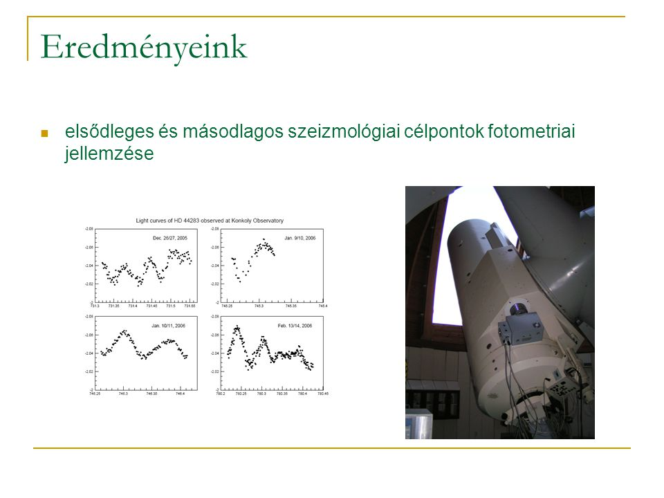 Eredményeink új változócsillagok felfedezése szoftver fejlesztése nagy mennyiségű idősor automatikus feldolgozására tesztek szintetikus adatsorokon a ROTSE-I publikus adatbázisának vizsgálata a COROT látómezőjébe eső csillagokra  katalógus  József M.