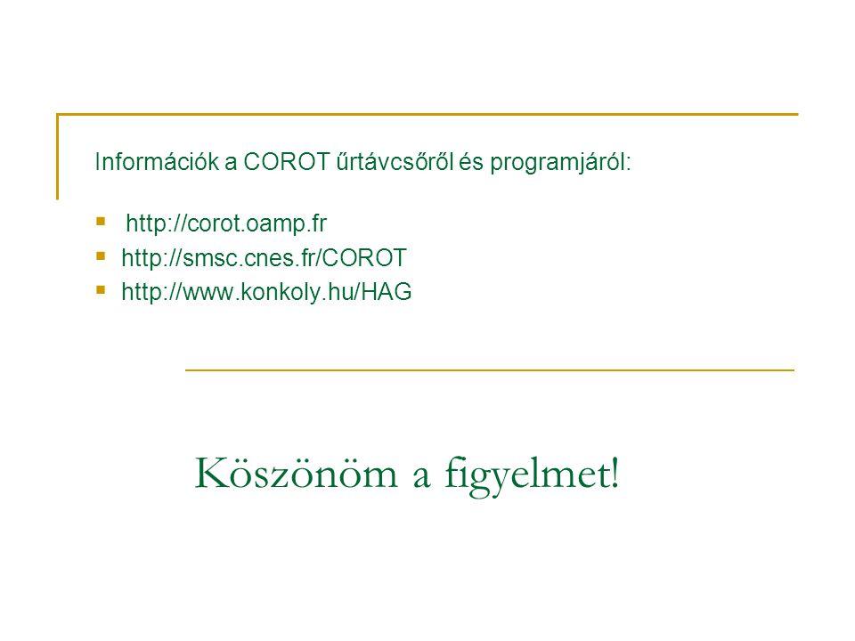 Információk a COROT űrtávcsőről és programjáról:  http://corot.oamp.fr  http://smsc.cnes.fr/COROT  http://www.konkoly.hu/HAG Köszönöm a figyelmet!