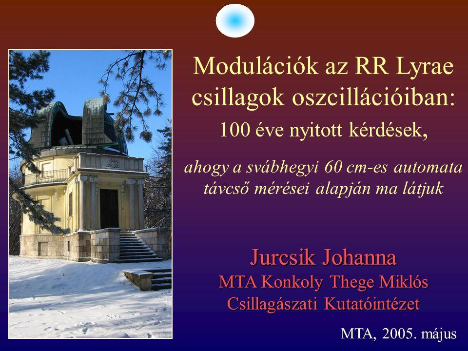 Jurcsik Johanna MTA Konkoly Thege Miklós Csillagászati Kutatóintézet Modulációk az RR Lyrae csillagok oszcillációiban: 100 éve nyitott kérdések, ahogy