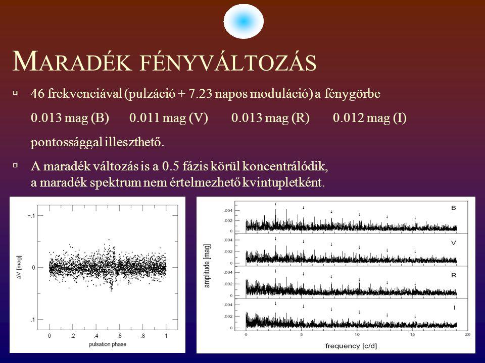 M ARADÉK FÉNYVÁLTOZÁS  46 frekvenciával (pulzáció + 7.23 napos moduláció) a fénygörbe 0.013 mag (B) 0.011 mag (V) 0.013 mag (R) 0.012 mag (I) pontossággal illeszthető.