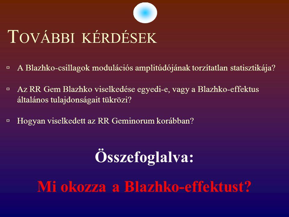T OVÁBBI KÉRDÉSEK  A Blazhko-csillagok modulációs amplitúdójának torzítatlan statisztikája.
