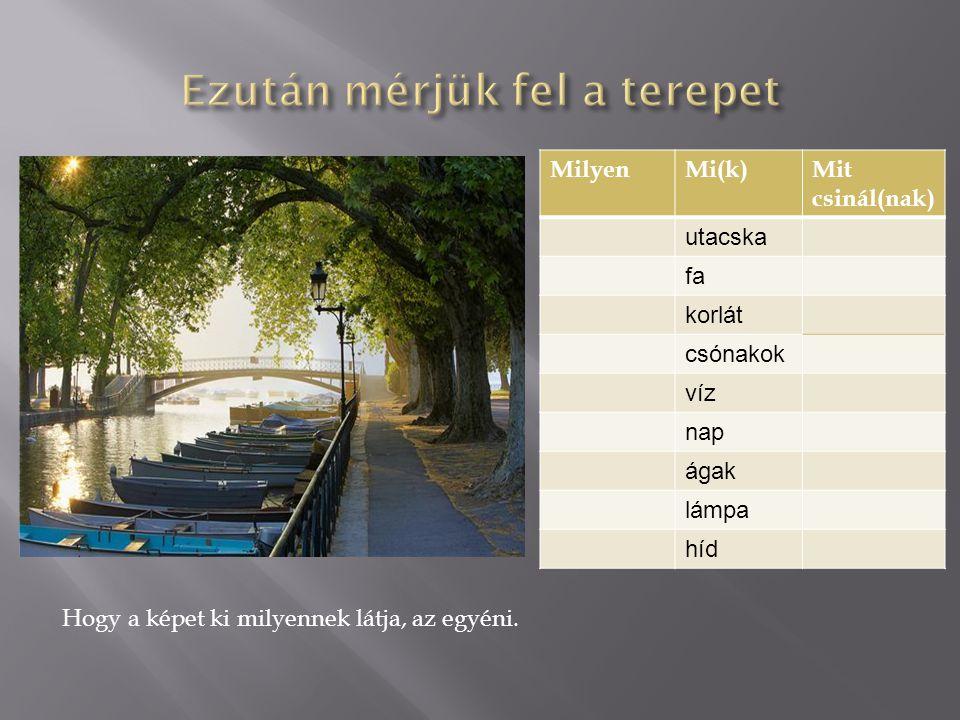 Hogy a képet ki milyennek látja, az egyéni. MilyenMi(k)Mit csinál(nak) utacska fa korlát csónakok víz nap ágak lámpa híd