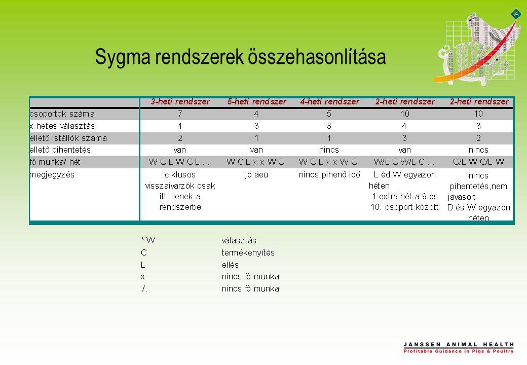 A SYGMA hátrányai Átállás költségei Férőhelyek számát lehet hogy növelni kell (fiaztató) Nem 3 hetes rendszer esetén a szabályos visszaivarzókat csak Regumate kezelés után tudjuk beilleszteni