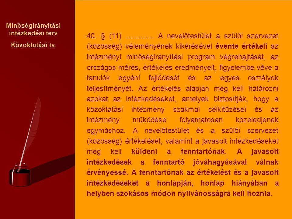 Minőségirányítási intézkedési terv Közoktatási tv. 40. § (11) ………... A nevelőtestület a szülői szervezet (közösség) véleményének kikérésével évente ér