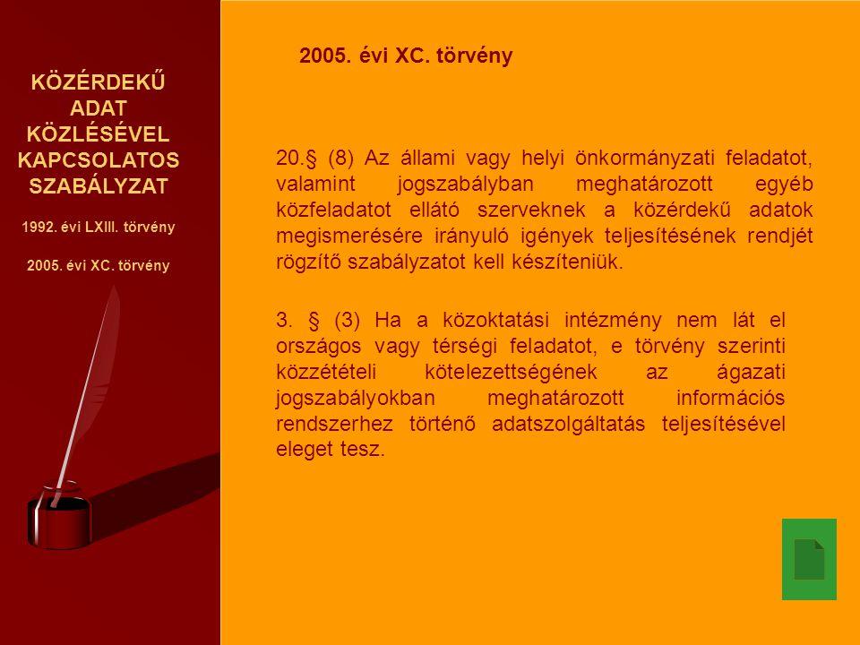 KÖZÉRDEKŰ ADAT KÖZLÉSÉVEL KAPCSOLATOS SZABÁLYZAT 1992. évi LXIII. törvény 2005. évi XC. törvény 20.§ (8) Az állami vagy helyi önkormányzati feladatot,