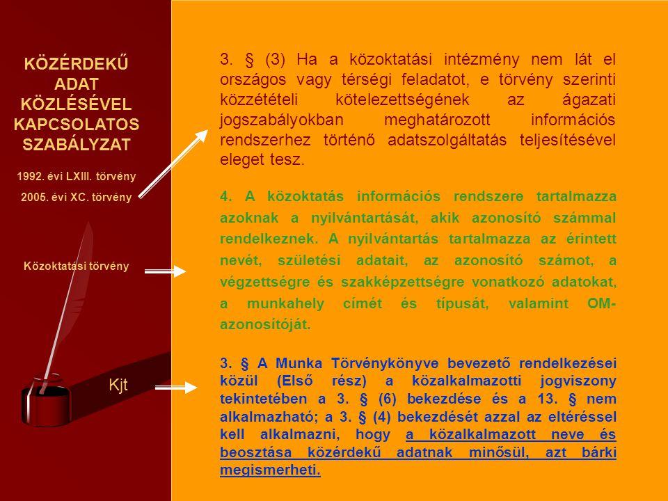 KÖZÉRDEKŰ ADAT KÖZLÉSÉVEL KAPCSOLATOS SZABÁLYZAT 1992. évi LXIII. törvény 2005. évi XC. törvény Közoktatási törvény Kjt 3. § (3) Ha a közoktatási inté