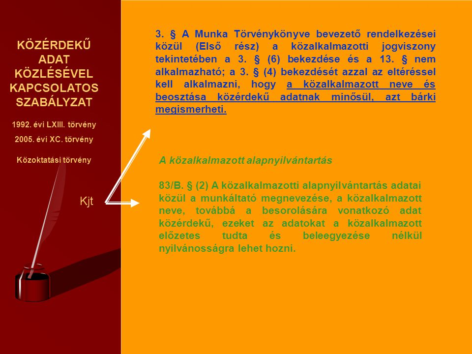 KÖZÉRDEKŰ ADAT KÖZLÉSÉVEL KAPCSOLATOS SZABÁLYZAT 1992. évi LXIII. törvény 2005. évi XC. törvény Közoktatási törvény Kjt 3. § A Munka Törvénykönyve bev