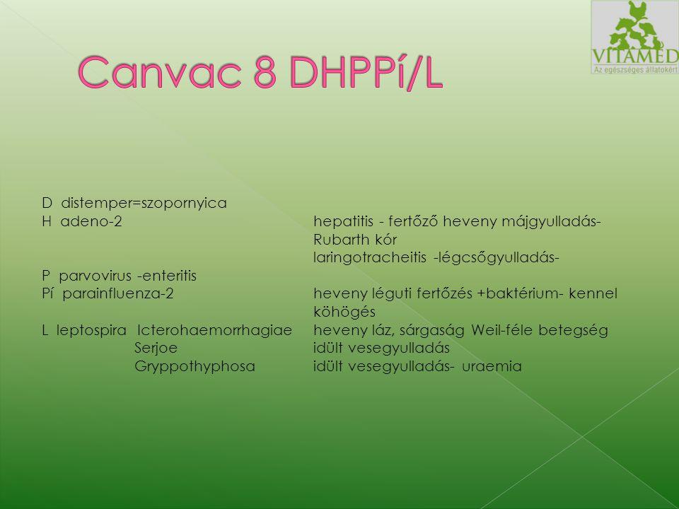 Egy adag vakcina élővírus és antigén tartalma: DCV 10 2,7-4,5 CEID 50 /ml Ondersteport törzs CAV-2 10 3,5-7,5 TCID 50 /mlToronto CPV10 2,1-3,6 HAUCPV-T-86 virulens 65-70 passzázs CPiV-210 3,0-6,0 TCID 50 /ml CPIV BT 01-89 törzs 47.