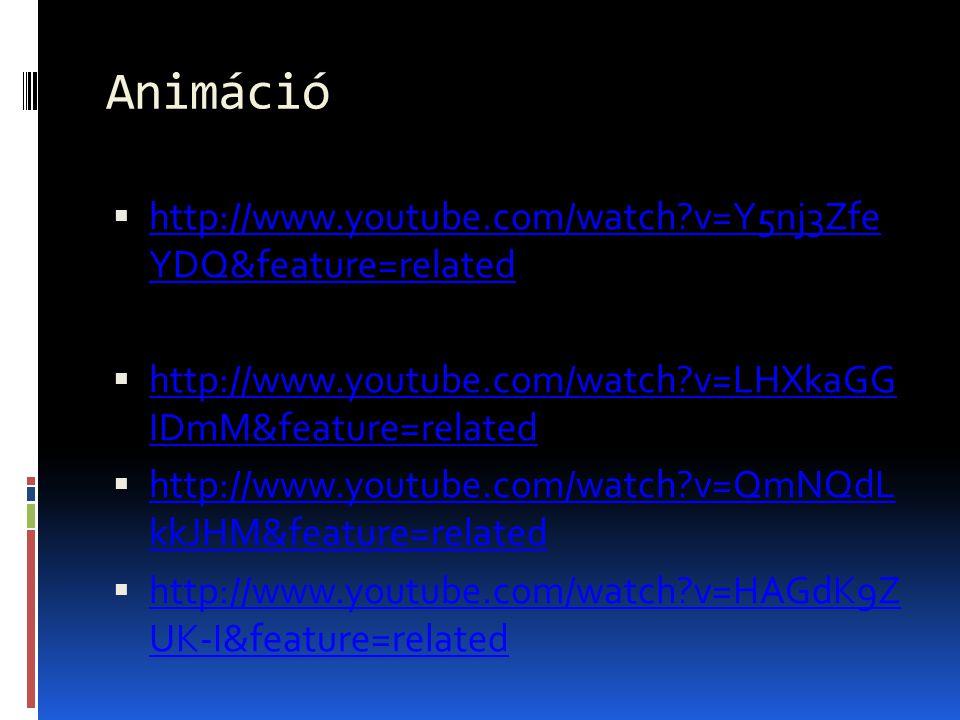 Animáció  http://www.youtube.com/watch?v=Y5nj3Zfe YDQ&feature=related http://www.youtube.com/watch?v=Y5nj3Zfe YDQ&feature=related  http://www.youtub