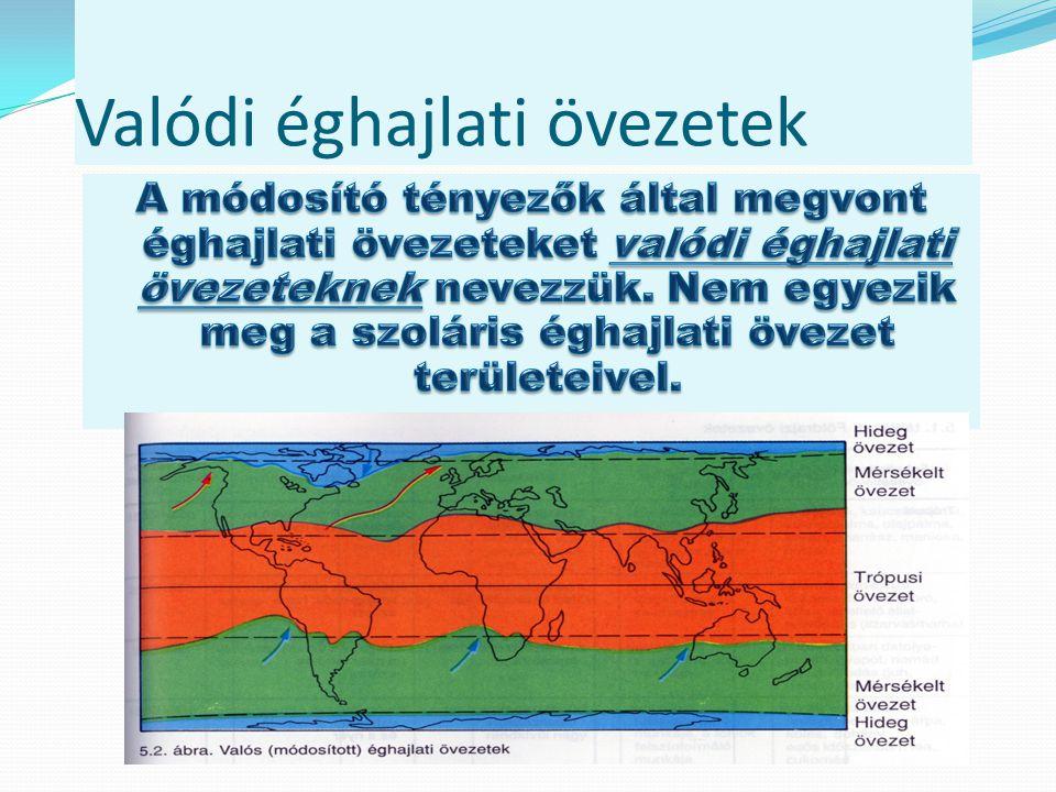 Szoláris éghajlati övezetet módosító tényezők