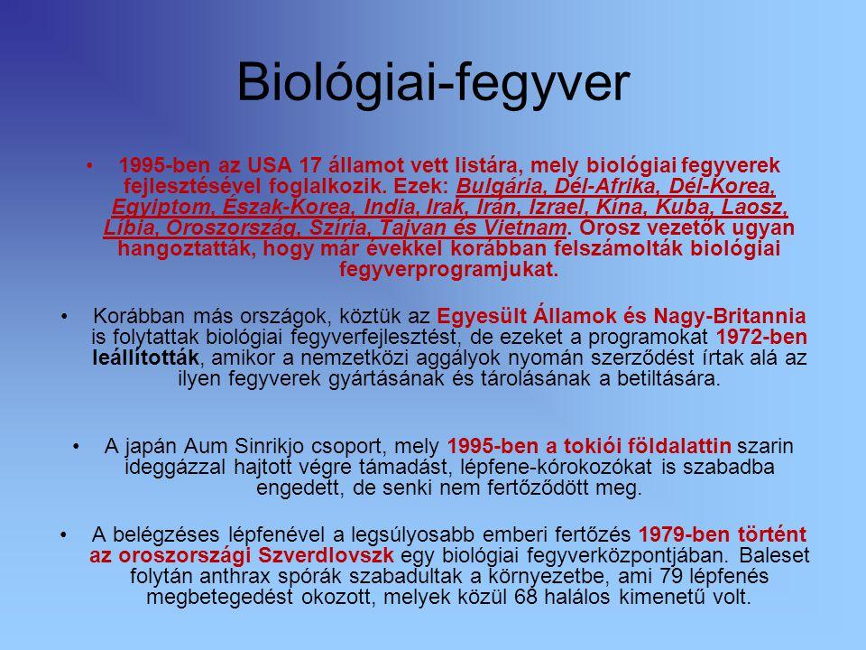 Biológiai-fegyver 1995-ben az USA 17 államot vett listára, mely biológiai fegyverek fejlesztésével foglalkozik. Ezek: Bulgária, Dél-Afrika, Dél-Korea,