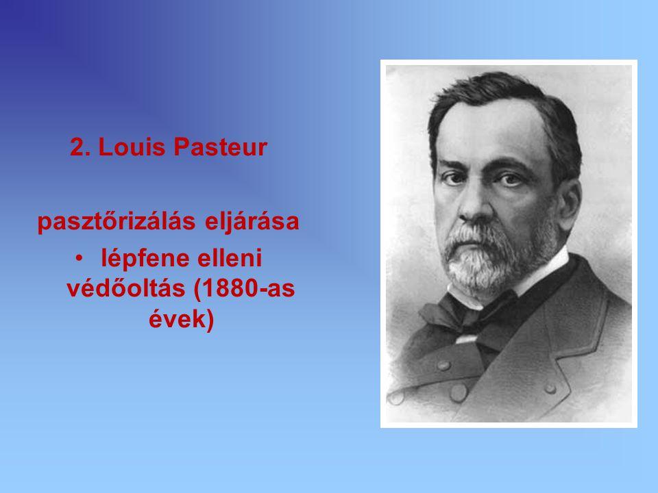 2. Louis Pasteur pasztőrizálás eljárása lépfene elleni védőoltás (1880-as évek)
