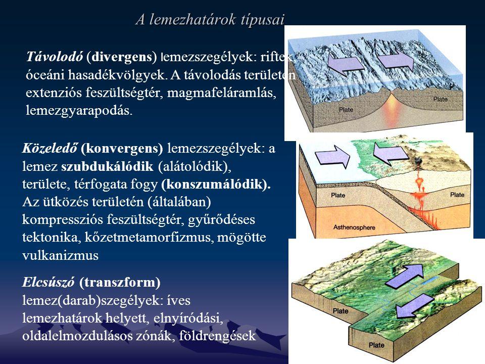 A lemezhatárok típusai Távolodó (divergens) l emezszegélyek: riftek, óceáni hasadékvölgyek.